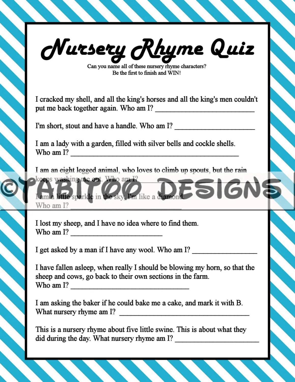 Nursery Rhyme Quiz Baby Shower Game Printable