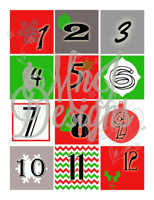 Printable Advent Calendar Numbers Christmas Countdown