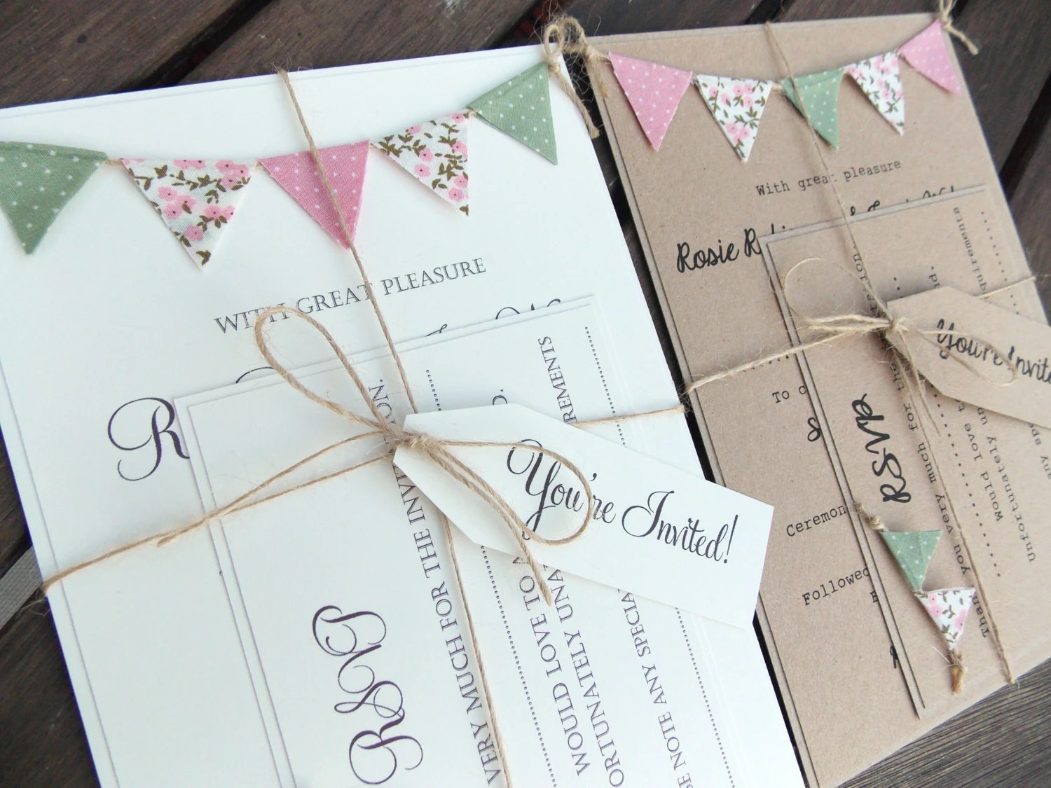 Homemade Rustic Wedding Invitations