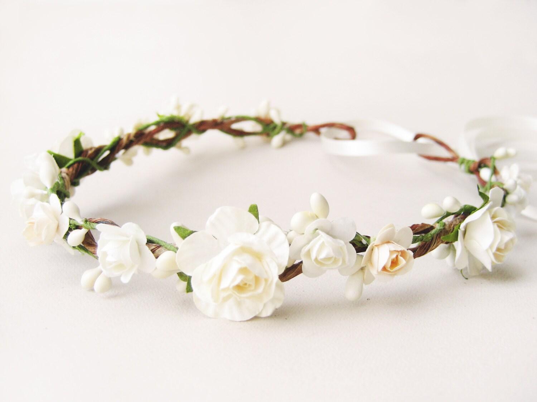 Bridal Flower Crown Wedding Floral Crown Ivory Wreath