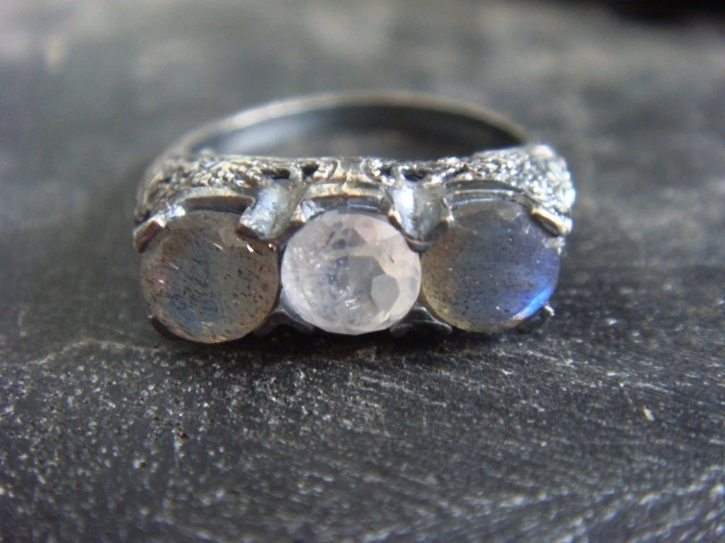 Moonstone and Labradorite Ring Oxidized Silver Victorian Gothic Style - JennKoDesign