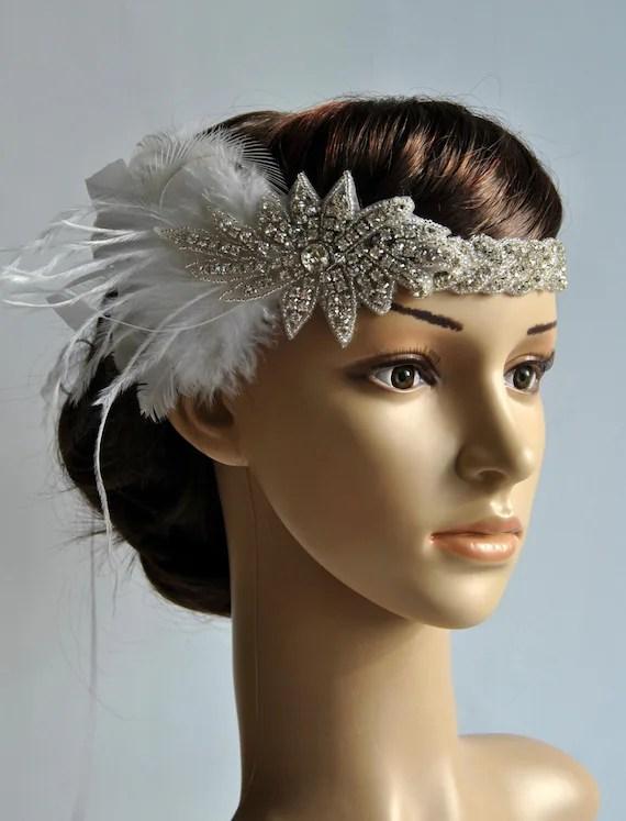 1920s Rhinestone Flapper Headband Bridal Head Piece