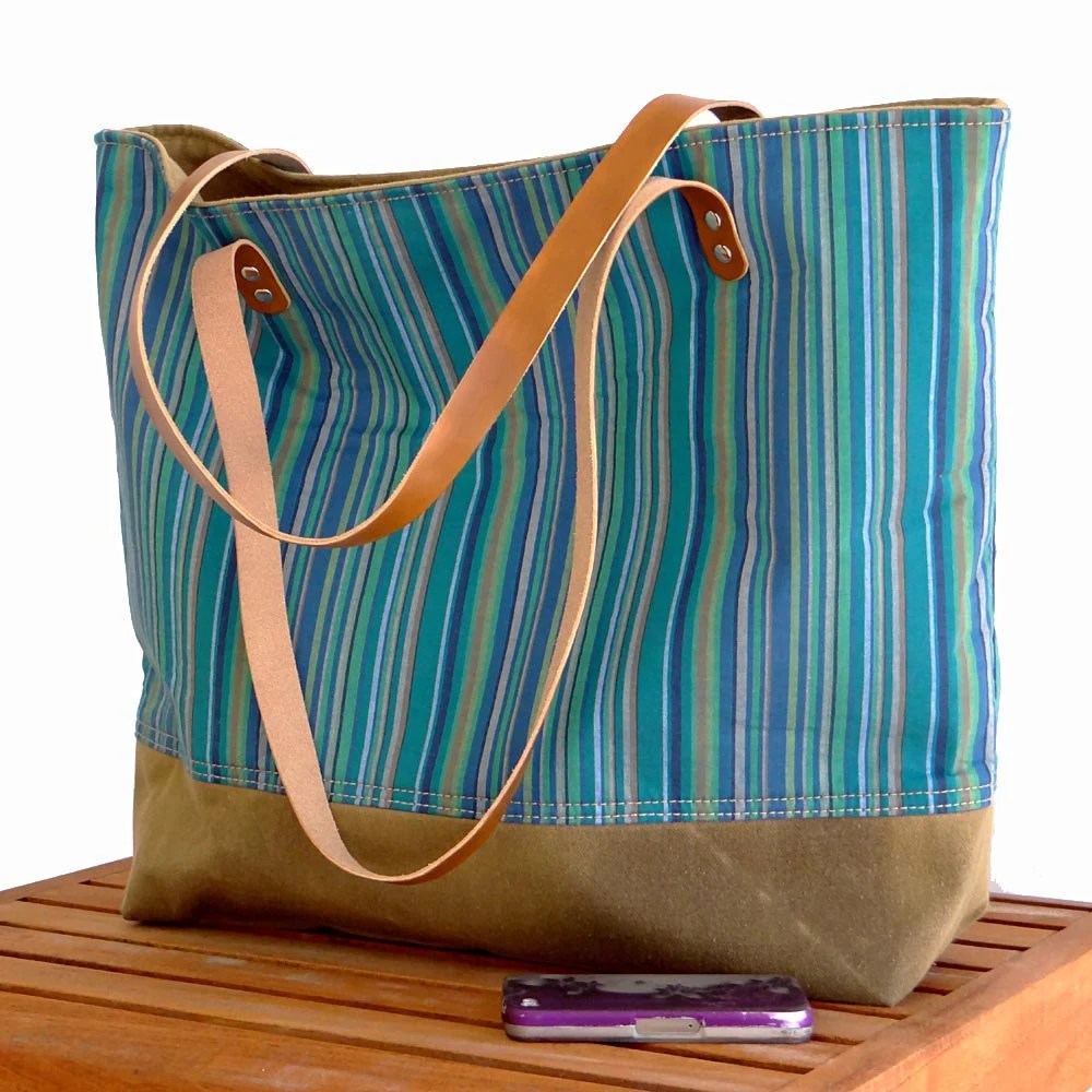 Striped Beach Tote - Blues, Green, Beige & Brown Leather Straps - hmmills