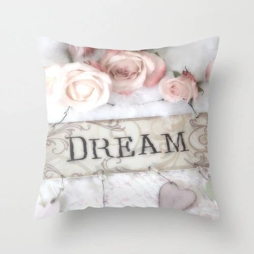 Roses Dream Pillow Case Cover, Shabby Chic Pink White Roses Pillow Cover, Cottage Chic Pillow Home Decor, Dream Rose Decorative Pillow Case - KathyFornal
