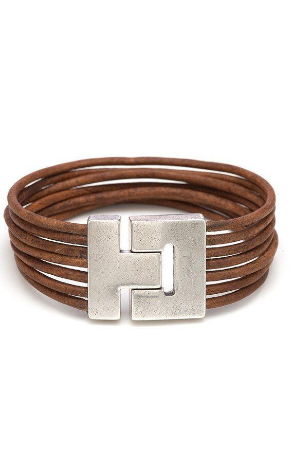 Items similar to Light Brown Leather Wrap Bracelet for ...