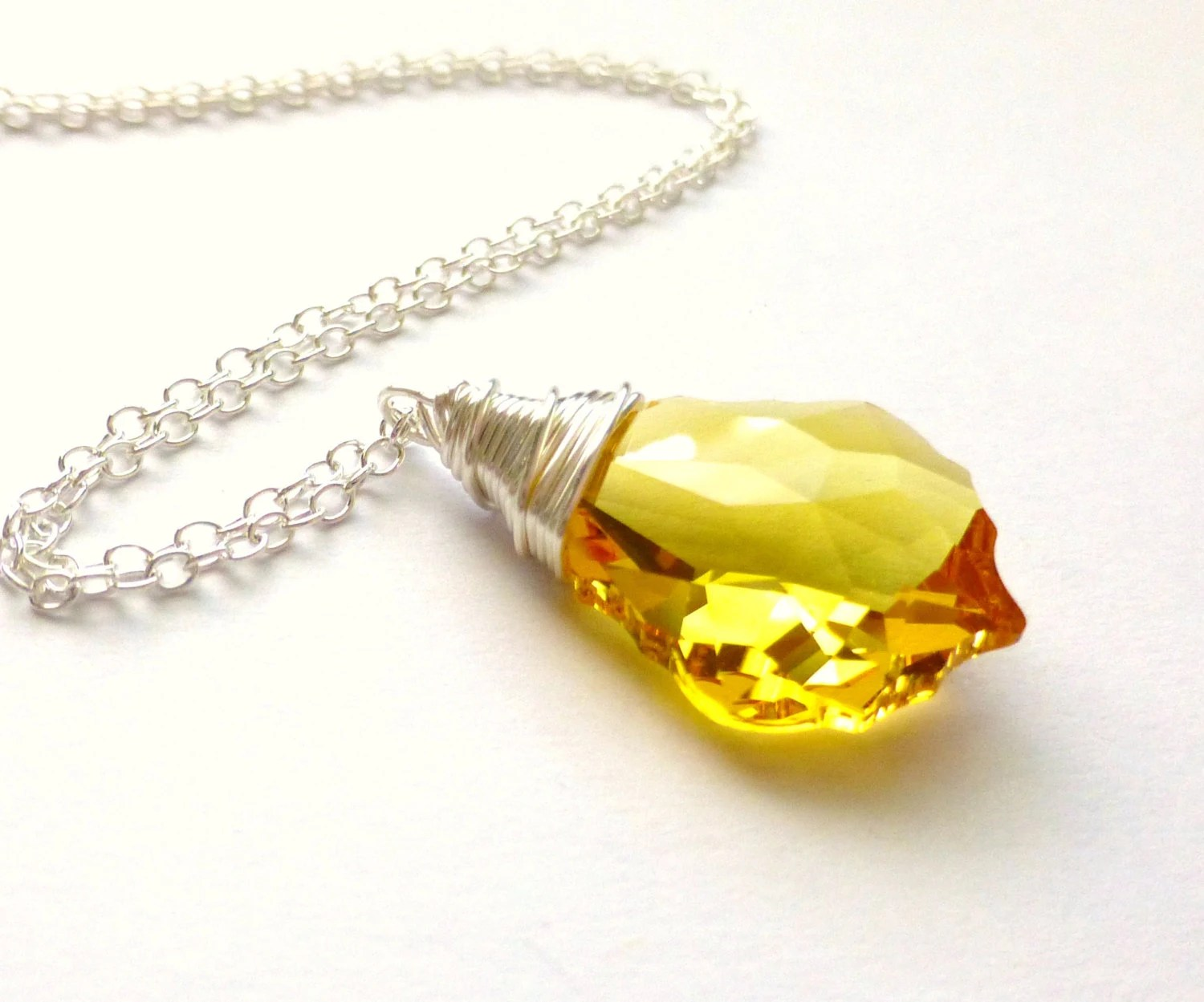 Yellow Crystal Necklace, Light Topaz Swarovski Baroque Pendant, Wire Wrapped, Sterling Silver Necklace, JBMDesigns - JBMDesigns