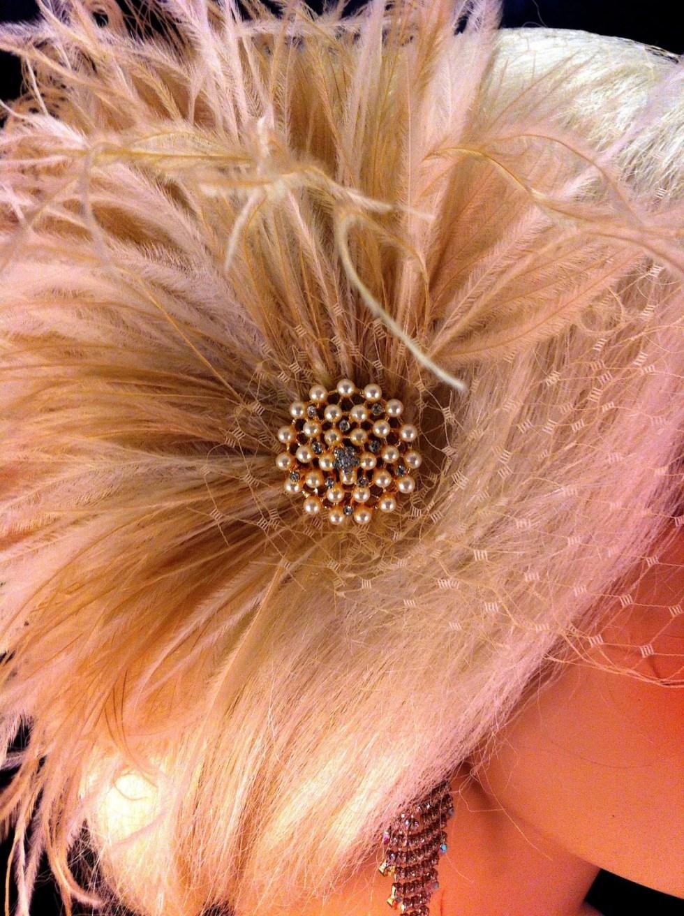 Wedding Bridal Fascinator, Bridal Fascinator, Feather Fascinator , Wedding Veil, Bridal Headpiece -Ivory/ Champagne, Gold-tone Pearl Brooch