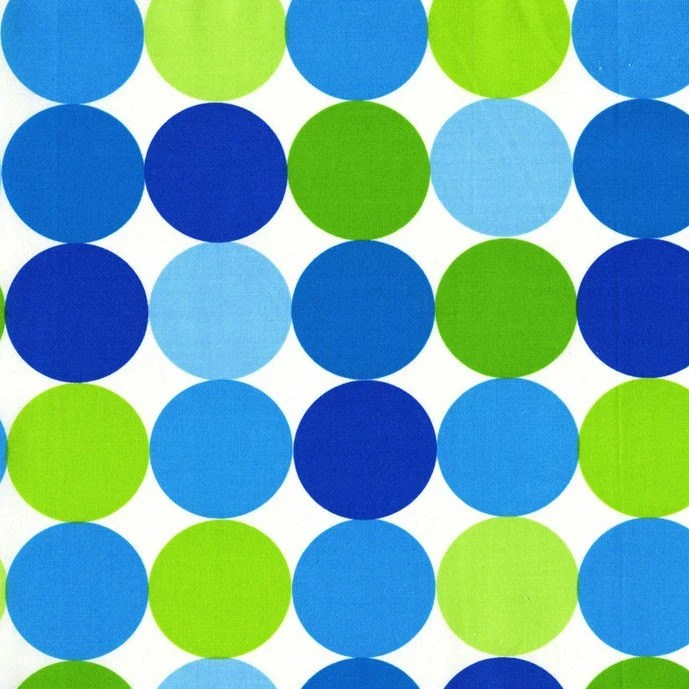 Blue and Green Disco Dots From Michael Miller 1 Yard - StitchStashDiva