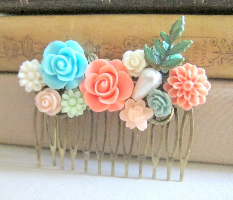 Items Similar To Coral Turquoise Wedding Hair Comb