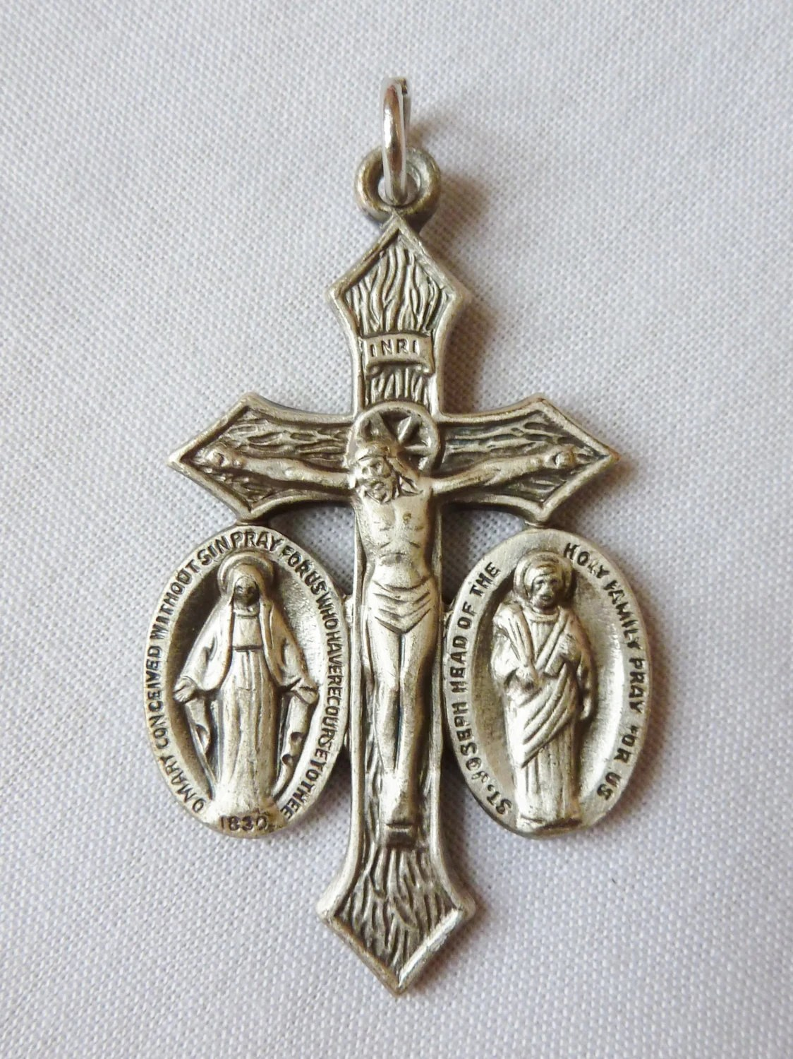 Vintage Religion Jesus Mary And Joseph Cross Pendant Medal