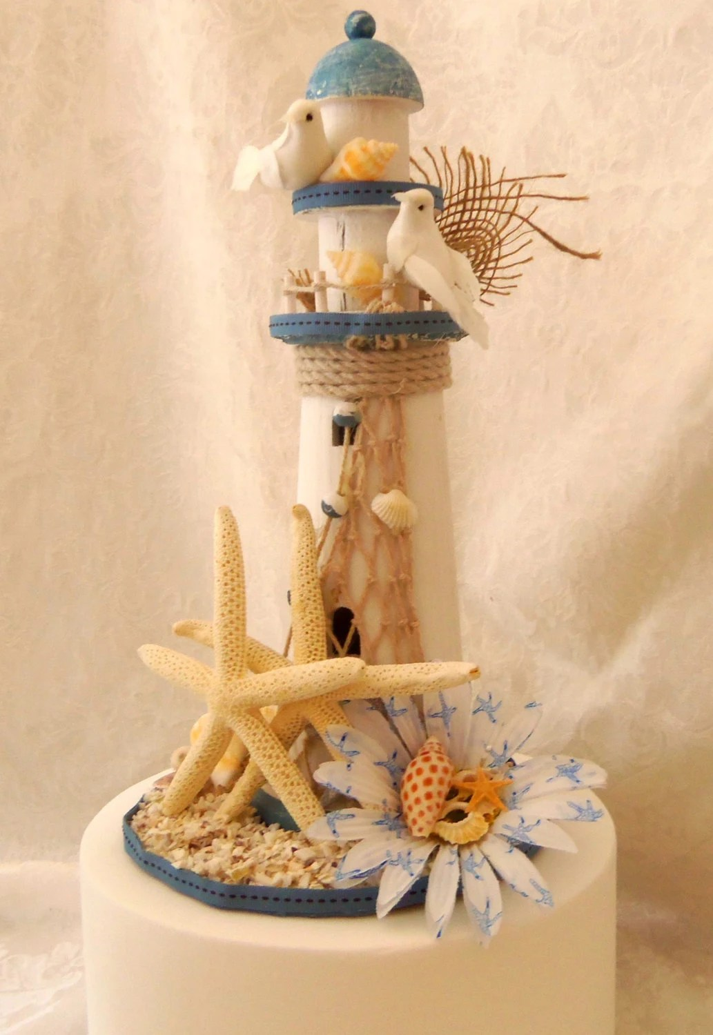 Nautical Lighthouse Starfish Cake Topper Up Cycled Cake
