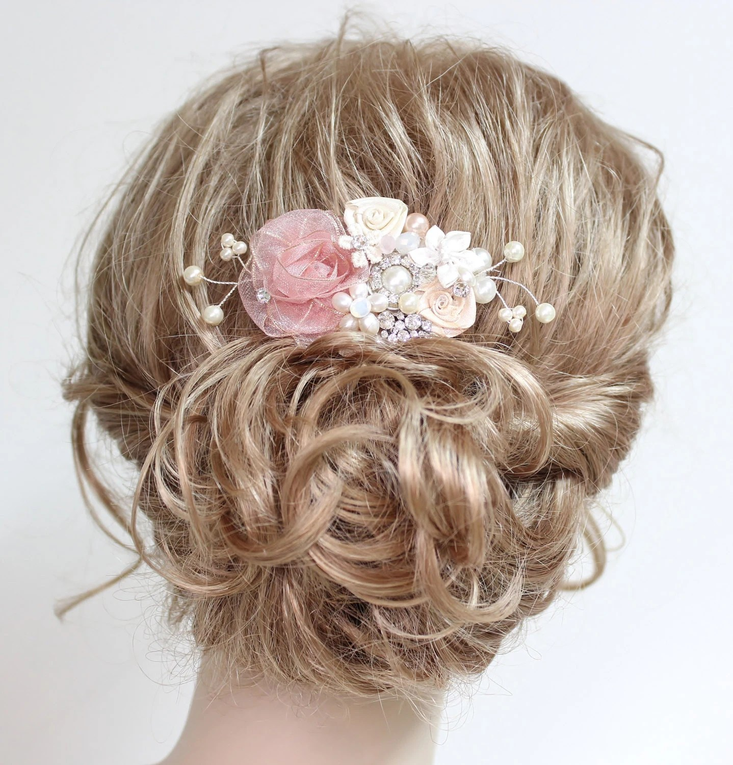 Ivory Wedding Hair Pieces Pink Ivory Bridal Hair Comb