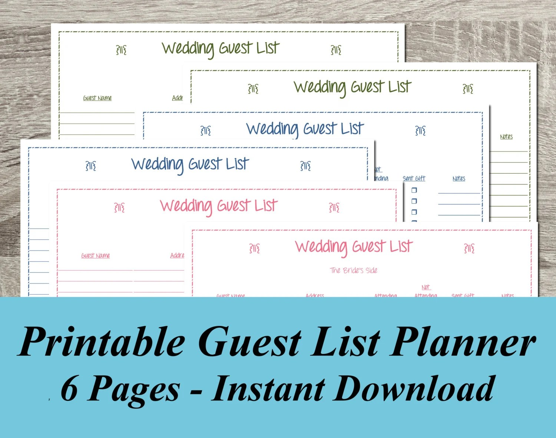 INSTANT DOWNLOAD Wedding Guest List PDF Wedding Planning 6