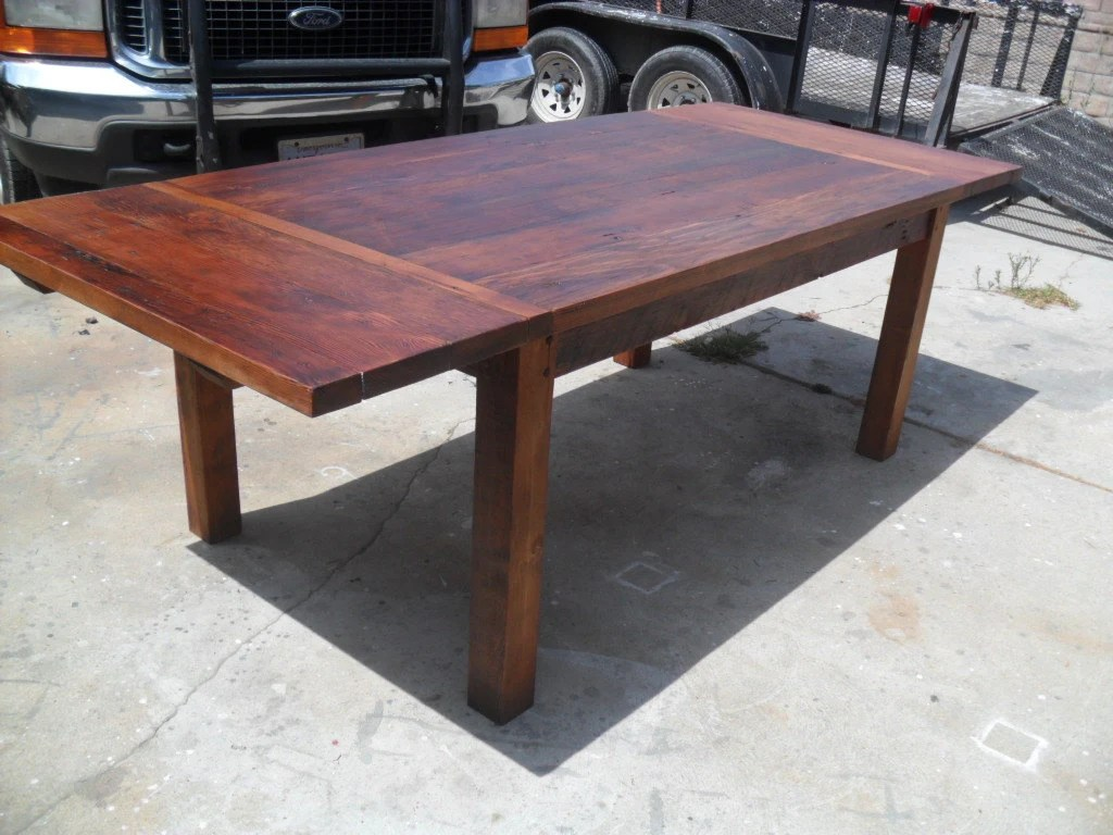 Reclaimed Wood Pine Extension Dining Table. USA Made