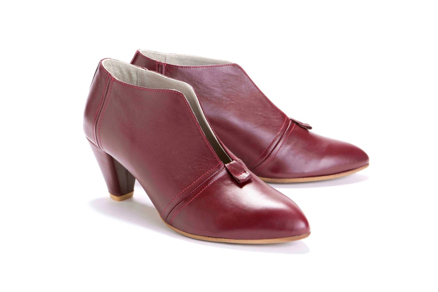 Womens Oxblood High Heel Ankle Shoes with V Cut // US size 4.5-11 - OliveThomasShoes