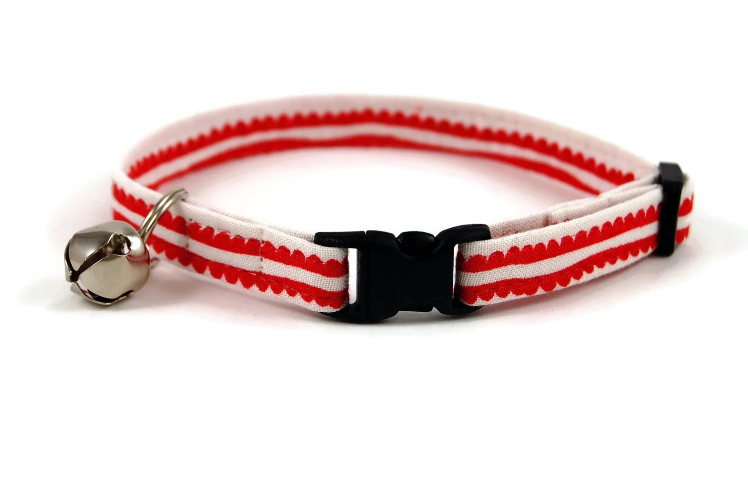 Cat Collar, Red and White, Christmas