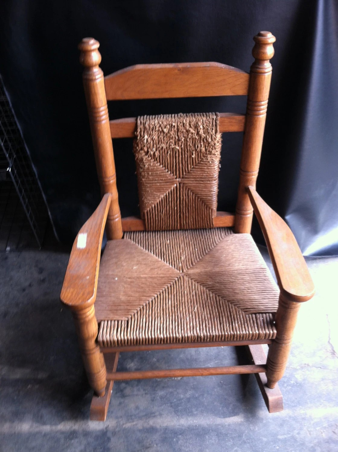 Vintage Wood Child S Woven Rocking Chair Local Pick Up