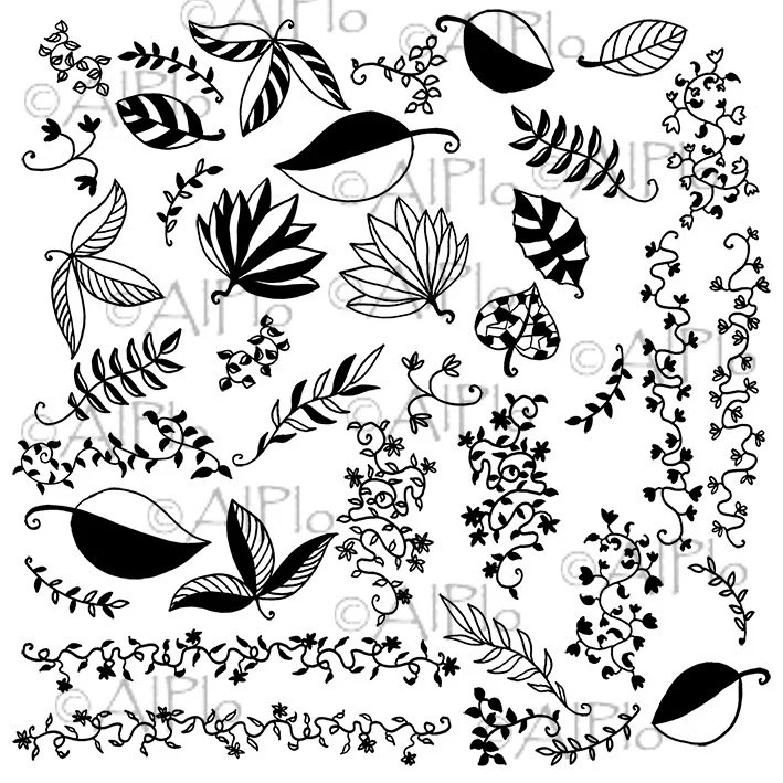 Digital download floral clip art black leaves branches flowers personal and small commertial use 38 images - AlPlo