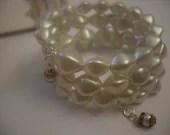 Vintage recrafted bracelet / bangle -pearlesque.