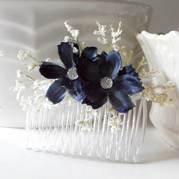 Items Similar To Navy Blue Flower Hair Combs Bridesmaid