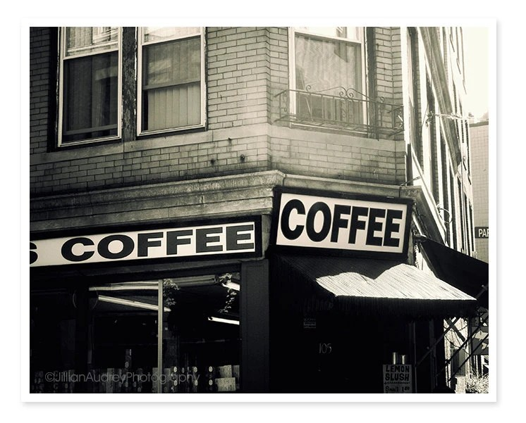 Boston Coffee House Photograph - 8x10 - North End - classic wall art black and white kitchen café Italian urban - JillianAudreyDesigns