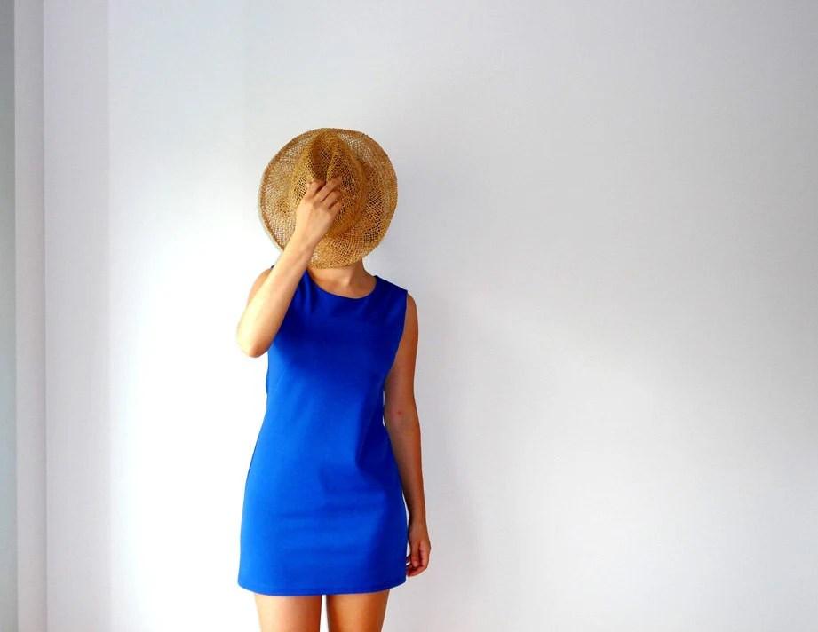 Royal blue dress. Vintage cobalt dress. Mod dress. Royal blue dress. Casual chic dress. Mini dress cobalt blue - Dulzetvintage