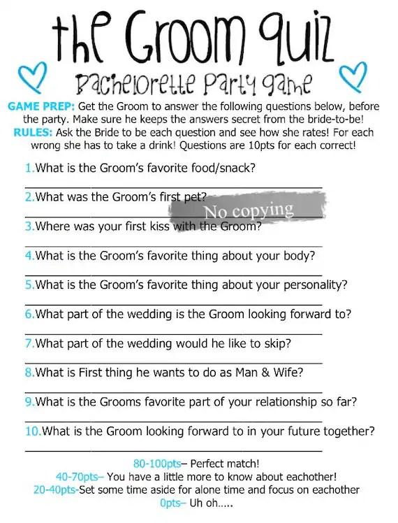 Famous Brides Bridal Shower Game