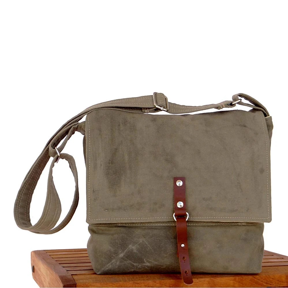 Mens Messenger Bag - Waxed Canvas Green & Leather, Field Bag - hmmills