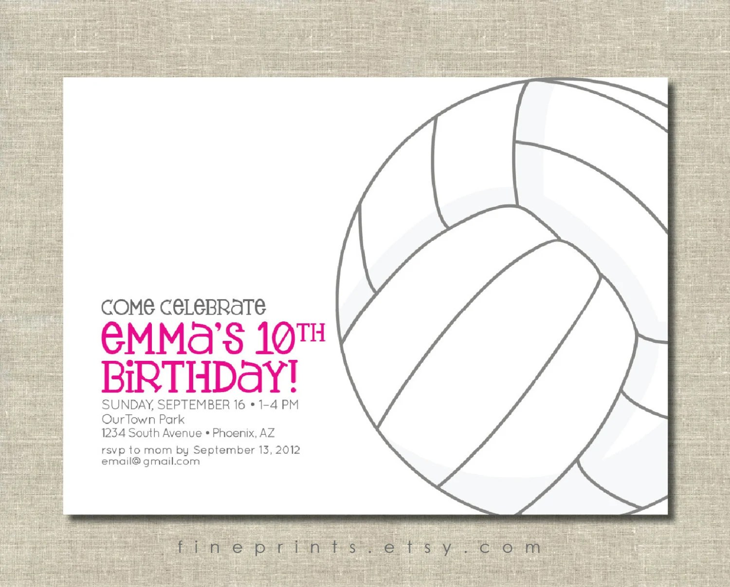 Printable Volleyball Invitations
