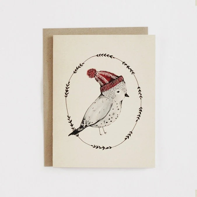 Winter Bird / Hat - Card - 1 pc