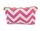 PINK CHEVRON MAKEUP bag, more colors, pink chevron case, pink and white chevron clutch, chevron travel case, chevron pack - gertiebaxter
