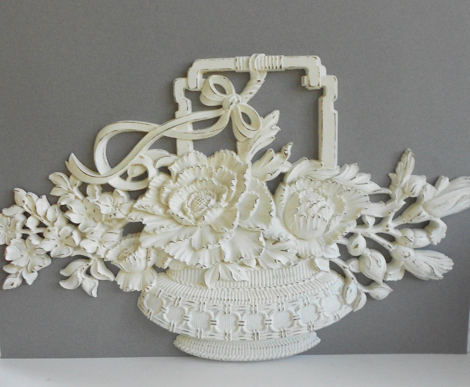 Flower Basket Large Wall Hanging Vintage 1980 by MollyMcShabby on Decorative Wall Sconces For Flowers Hanging Baskets Delivery id=25006