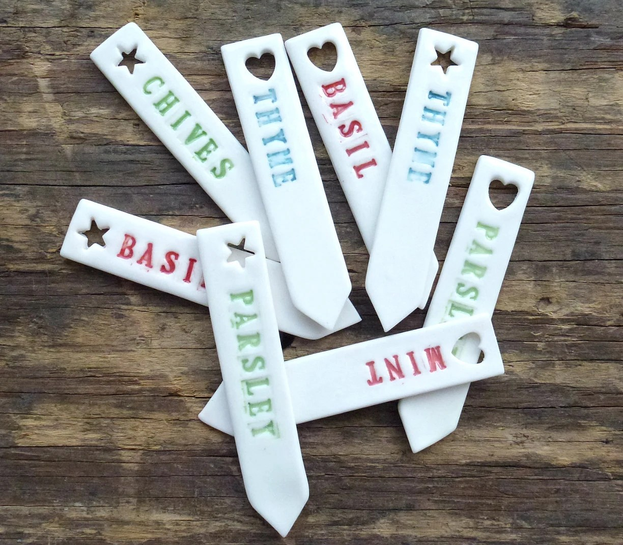 Porcelain herb markers, set of four - delphineandmax