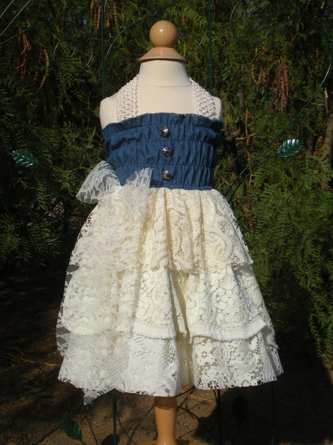 Little Girl S Denim And Lace Country Ruffles Dress Size