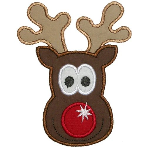 Rudolph Reindeer Face Embroidery Machine Applique By