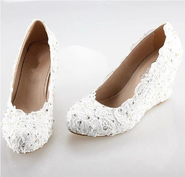 Lace Wedge Bridal Shoes