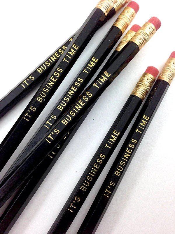 It's Business Time Pencil 6 Pack in Black with Gold