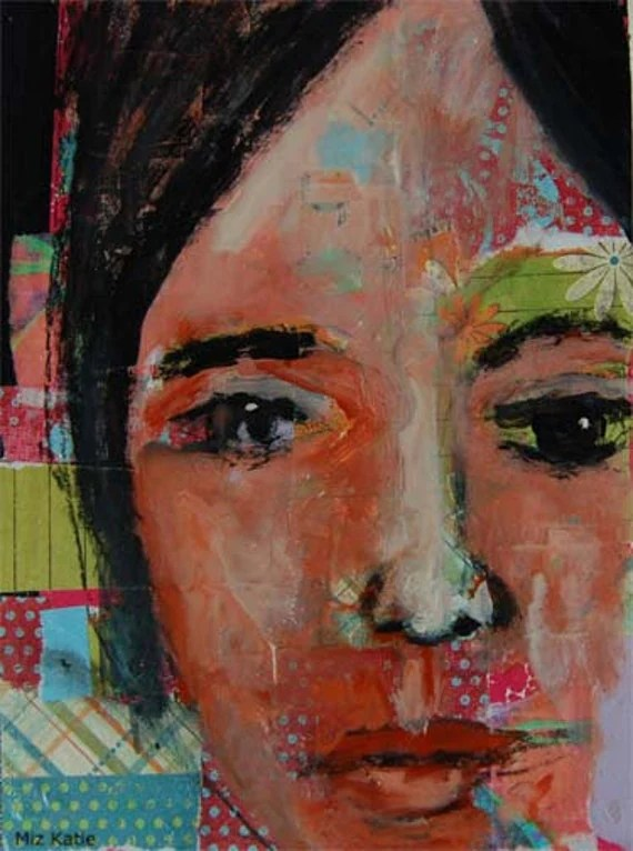 8x10 Print Collage Portrait Painting Young Woman, Face, Green, Orange, Flowers, Black