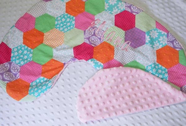 Boppy Pillow Cover- Personalized Boppy Cover- Cute Patchwork Print and Pale Pink Minky Boppy Cover