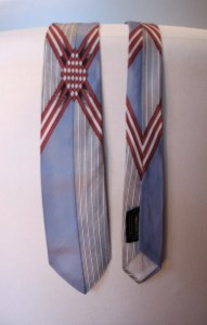 Vintage 1950s Rayon Necktie in Pale Blue and White