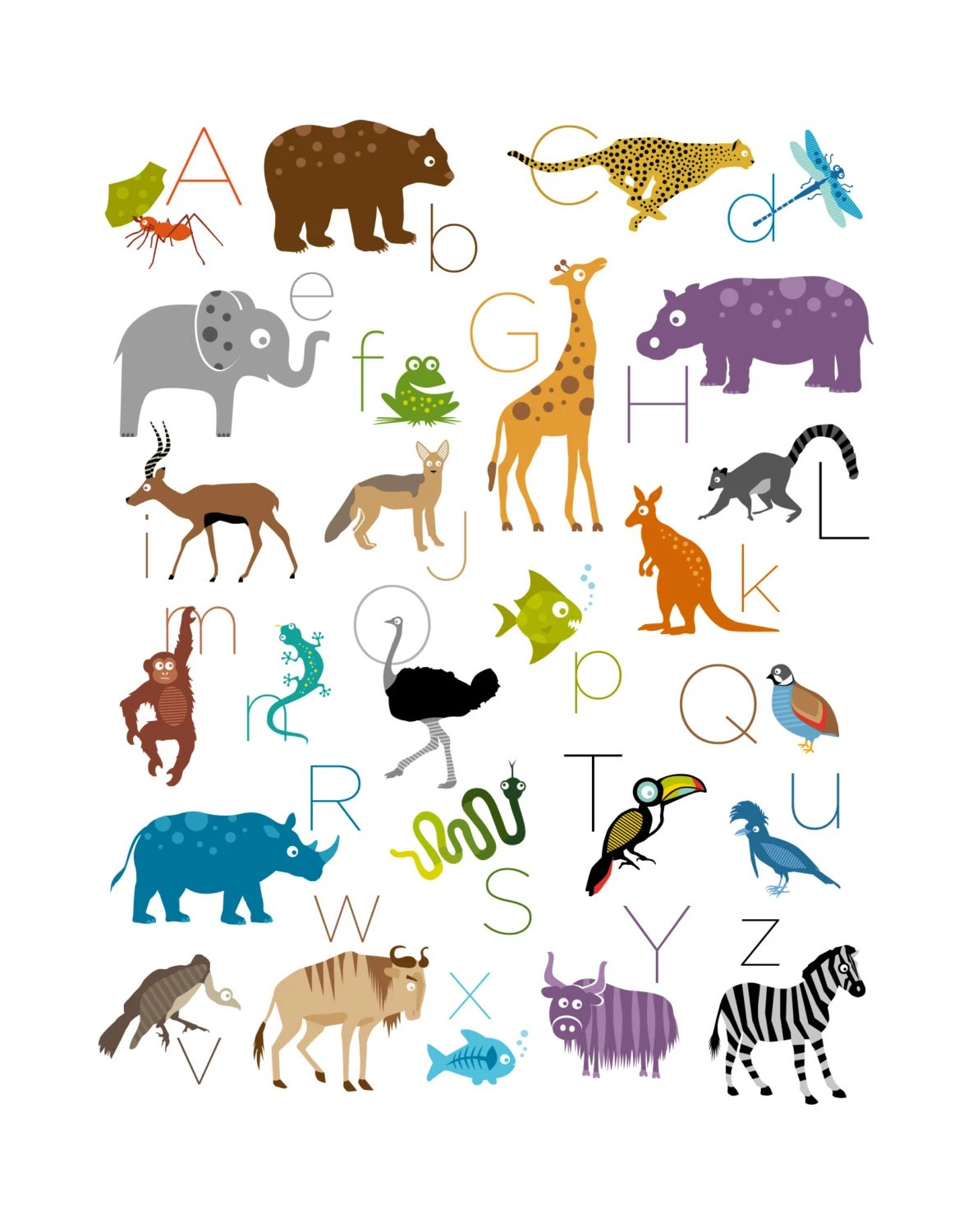 Safari Jungle Animal Alphabet Print