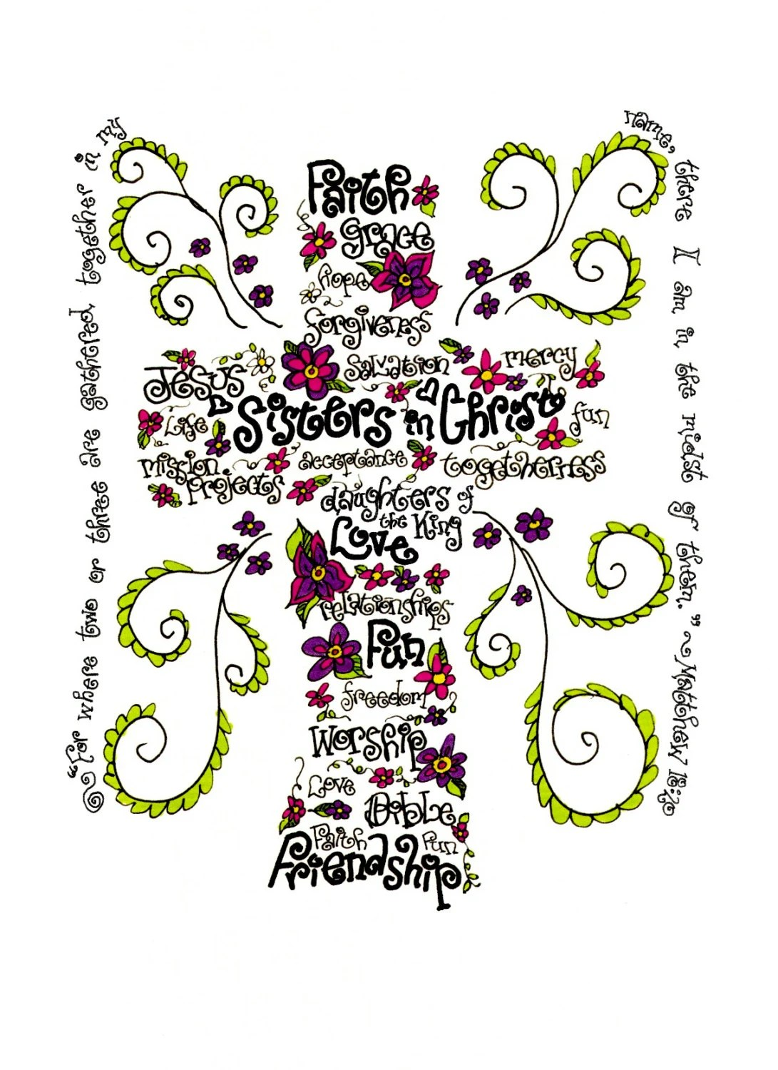 Sisters In Christ Print Of Hand Drawn Cross Wordart With