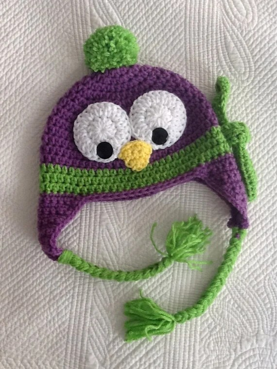 Purple Penguin Hat, Child Animal Hat, Penguin Hat, Crochet Baby Hat, Winter Hat, Baby Hat, Newborn Hat, Child Hat