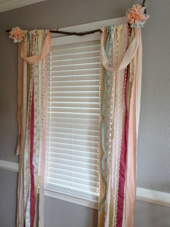 Shabby Chic Rustic Rag Curtain Window Treatment Panels