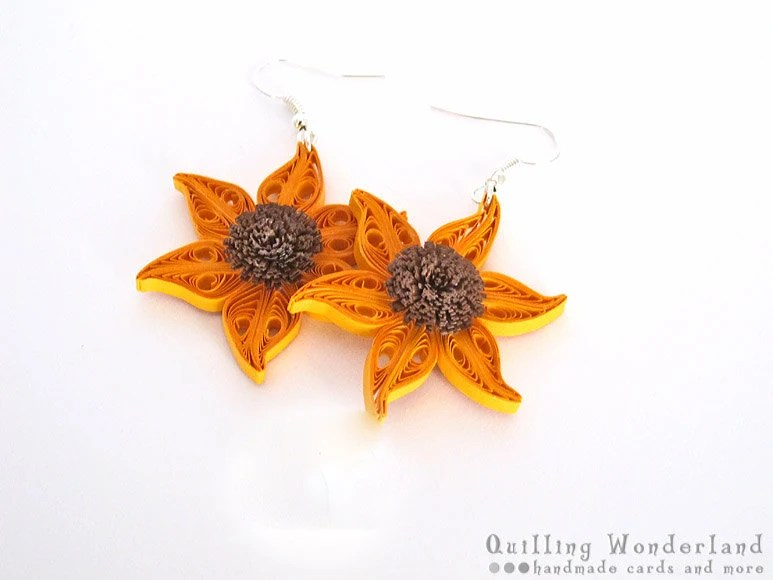 Sunflower Dangle floral quilling earrings floral motif, yellow brown, gift for her under 25
