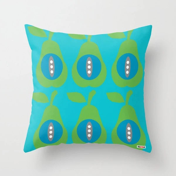 Pears throw pillow cover - Blue and green pillow cover - Modern pillow cover - Scandinavian pillow case - Decorative pillow cover - thegretest