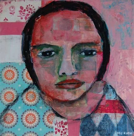 Acrylic Portrait Painting Collage 8x8 Troubled Mind, Original, Mixed Media, Girl, Red, Blue, Face, Brown Eyes, Circles, Triangles, Blue