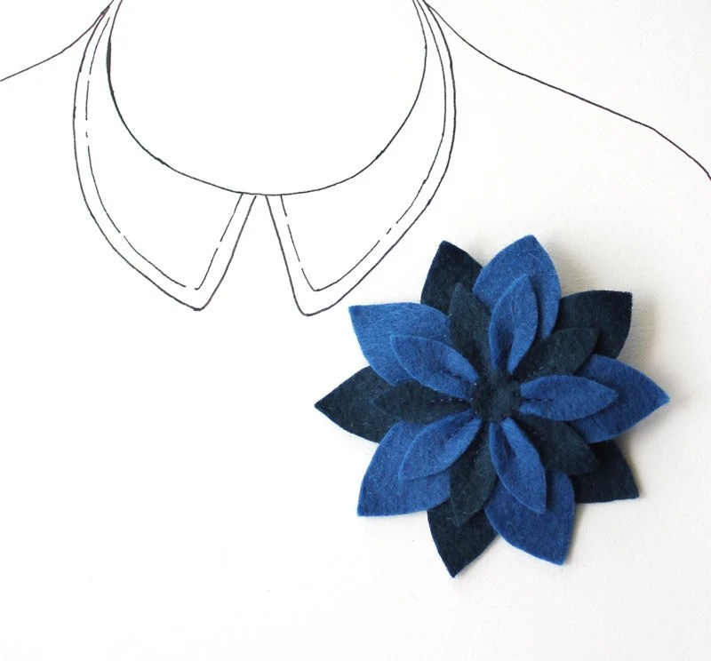 Felt Flower Brooch Pin - Navy Blue Flower - Midnight Star - Sapphire - myhideaway