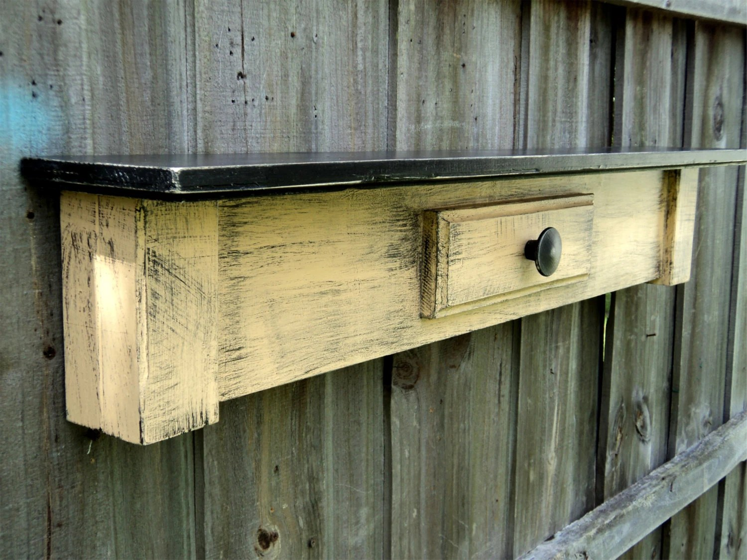 Primitive Farmhouse Style Display Shelf Rustic Country Table