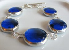 Carribean Blue Glass Nugget Bracelet Handmade Jewelry Mykonos Blue
